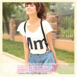 Mm Tee Shirt & Denim Shorts