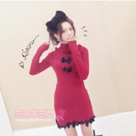 Turtleneck Cute Bow Jumper Dress