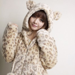 Cute Bear Ear Hoodie Leopard Jacket