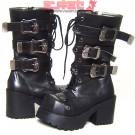 Skull Buckle Platform Punk Boots