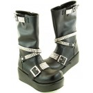 Studded Strap Punk Calf Boots