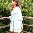 Blue Water Ruffle V-neck Dress