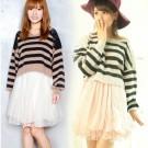 Snidel Striped Crochet Sweater