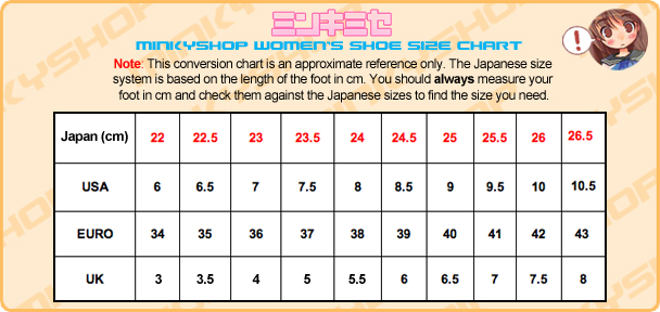 MinkyShop Women's Shoe Size Chart